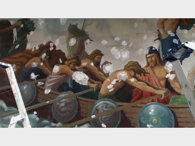 Fresque Viking enduit