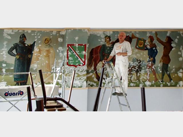 restauration fresque, travail Douvrain