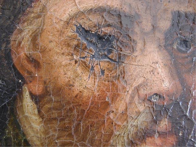 Restauration de l'huile sur toile, detail
